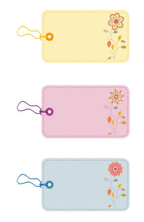 Gift tags with flowers and leafs