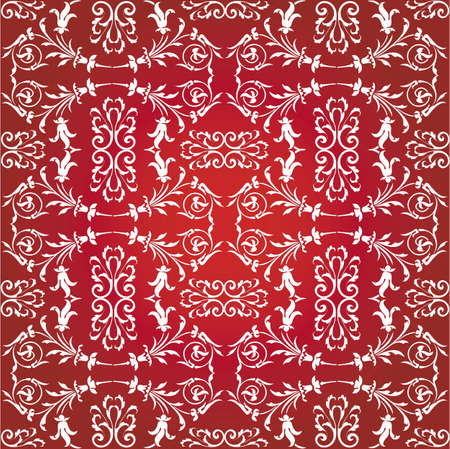Floral vector pattern on the red background