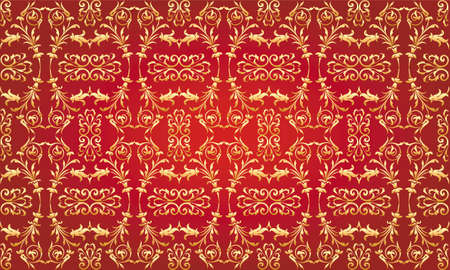 Red luxury floral vector pattern  Illustration