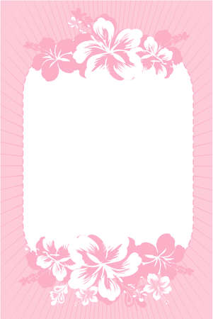 Vector illustration of pink hibiscus card Illustration