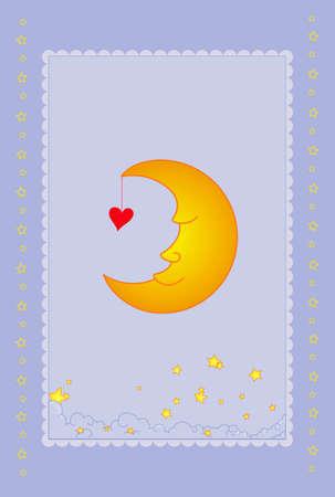 Vector illustration of moon card  Illustration