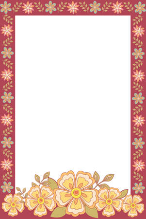 Vector illustration of photo frame with flowers