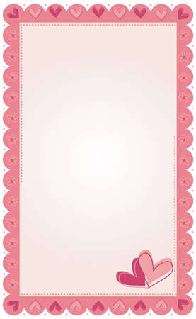 Vector illustration of photo frame with hearts