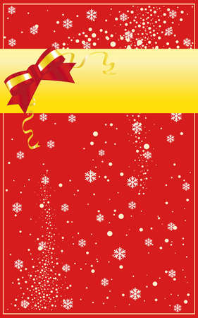 Vector illustration of christmas card with ribbon and snowflakes