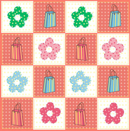 Vector illustration of bags and flowers pattern, light background
