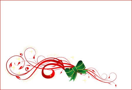 Vector illustration of Christmas card with ribbon on the white background