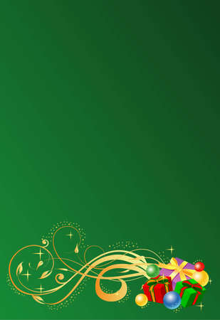 Vector illustration of Christmas card with gifts  on the green background
