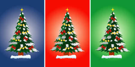 Vector illustration of Christmas tree on the blue, red and green background