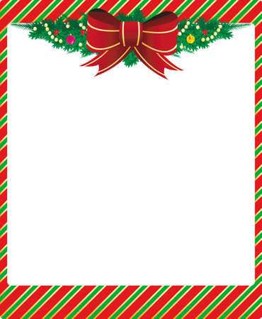 Christmas frame with ribbon and green sprays Illustration