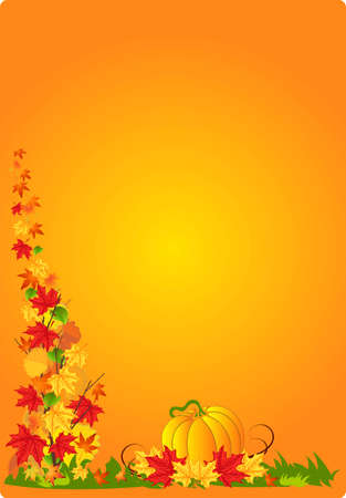 Vector illustration of autumn abstract background with pumpkin and leafs