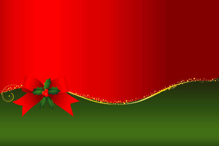 Christmas frame with ribbon and green sprays Vector