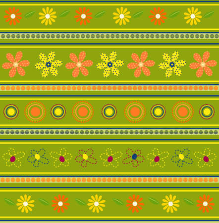 Vector illustration of green floral pattern