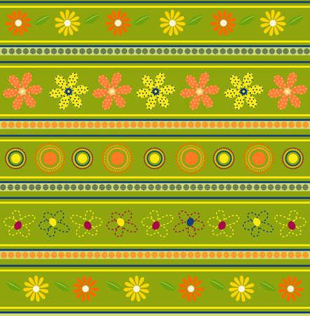 Vector illustration of green floral pattern