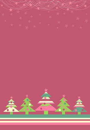 Vector illustration of Christmas background with Christmas trees ans stars Illustration