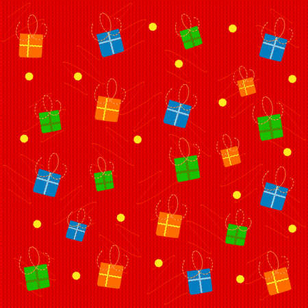 Vector illustration of holiday background with gifts