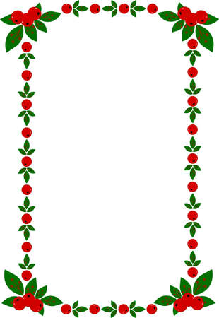 Vector illustration of Christmas frame with green sprays