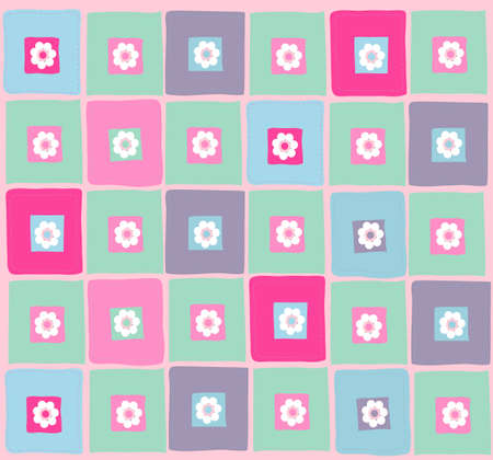 Vector illustration of colourful pattern with flowers