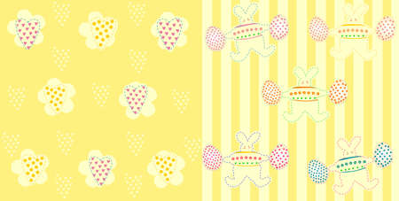 Vector illustration of Easter pattern with rabbits and eggs