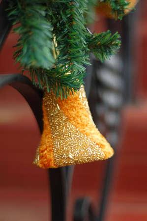 Golden Christmas bell and green sprays, hand made