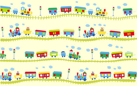 Vector illustration of cute design elements, train pattern
