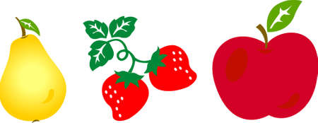 Vector illustration of apple, strawberry and pear Illustration