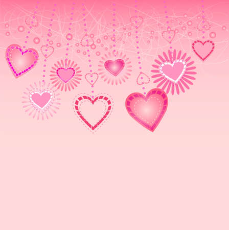 Vector illustration of valentines card with hearts Illustration