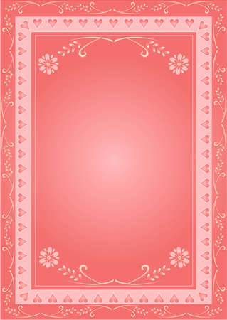 Valentine illustration of hearts with floral ornaments