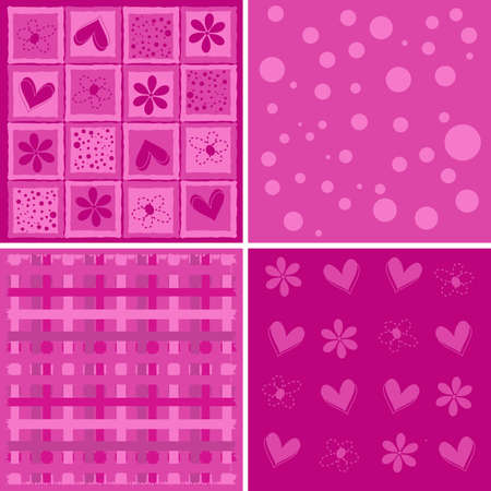 background with decorative ornaments and hearts, vector Illustration