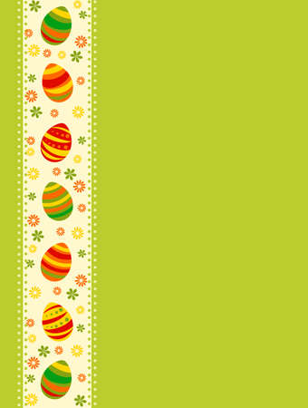 Vector illustration of colored Easter eggs over green background Illustration