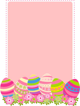 Vector illustration of colored easter eggs with flowers