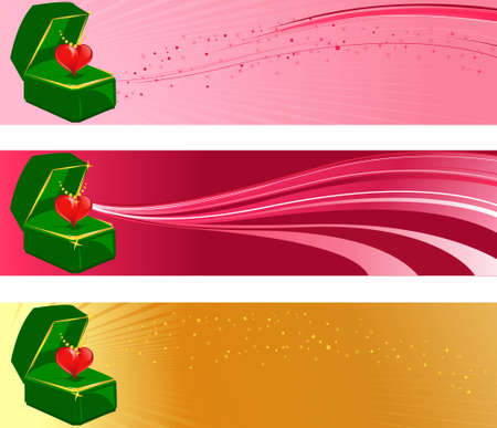 Vector illustration of Valentines banners with heart in jewel box