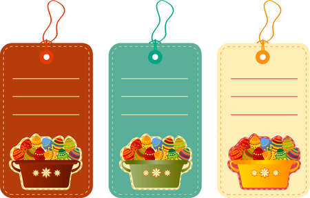 Vector illustration of Easter tags with eggs in basket