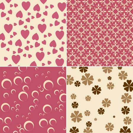Vector illustration of cute backgrounds with hearts and flower motives