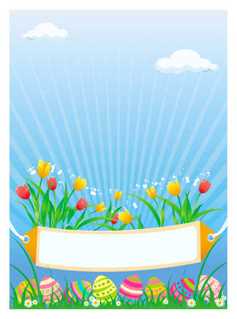 Vector illustration of colored Easter eggs with tulips