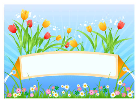 Vector illustration of Spring time card with tulips and flowers