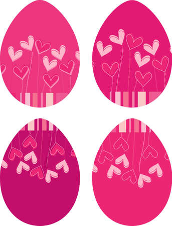 Set of four Easter eggs with hearts Vector