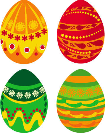 Set of four Easter eggs with ornaments Vector