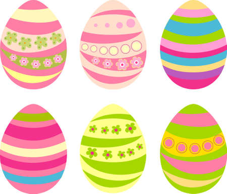 Set of six Easter eggs with ornaments Illustration