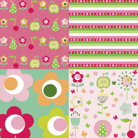 Spring vector pattern with colorful flowers and fruits on it