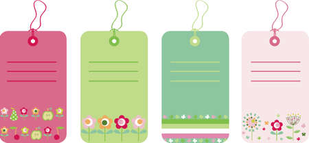 Vector illustration of gift tags with flowers and fruits