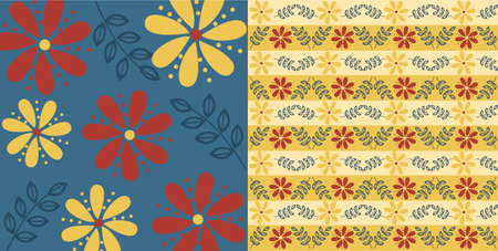Vector illustration of flower pattern, blue and beige background