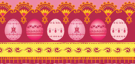 Vector illustration of Easter border with eggs
