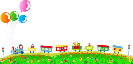 Vector illustration of cute train with presents and balloons