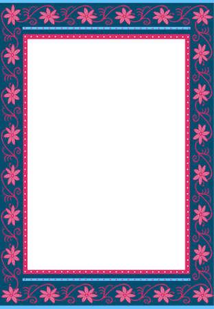 Vector illustration of floral picture frame