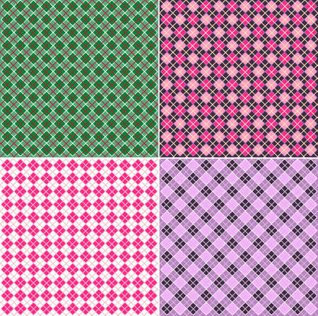 A set of four colored seamless tartan patterns. illustration.