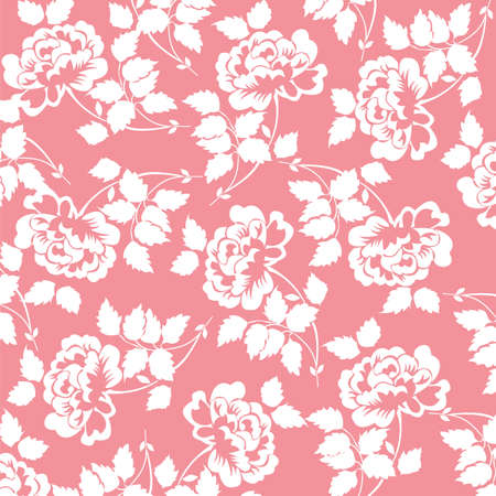 beautiful pattern with rose flowers on red background Illustration