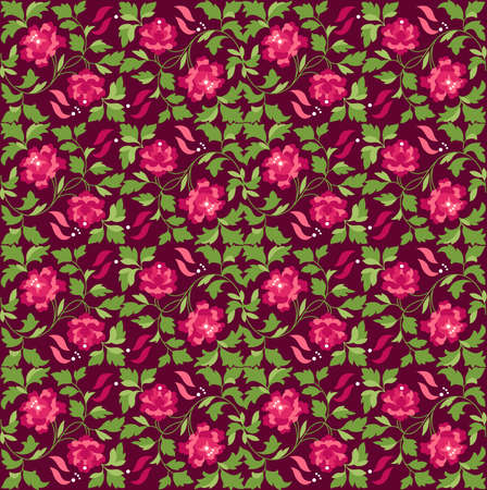 floral pattern, red background