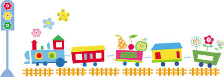 border frame: illustration of cute train with flowers and fruits