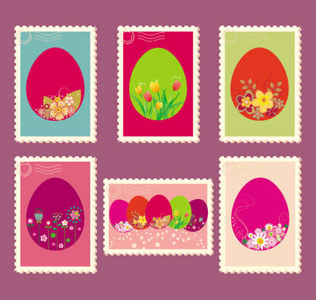 Vector illustration of Easter postage stamps with flowers Illustration