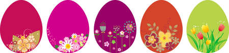 Set of Easter eggs with flowers Vector